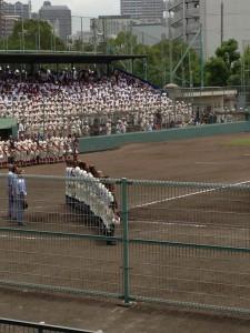 関学に勝った報徳の選手達(夏の兵庫大会2013.7.14 尼崎市記念公園野球場にて)